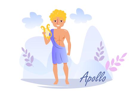 Apollo Vector. Cartoon. Isolated art on white background. Flat Vektorové ilustrace