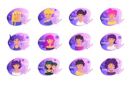 Signos del zodiaco. Horóscopo. Astrología. Personajes de caricatura. Ilustración de vector