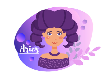 Aries zodiac sign Vector. Cartoon. Isolated art on white background.