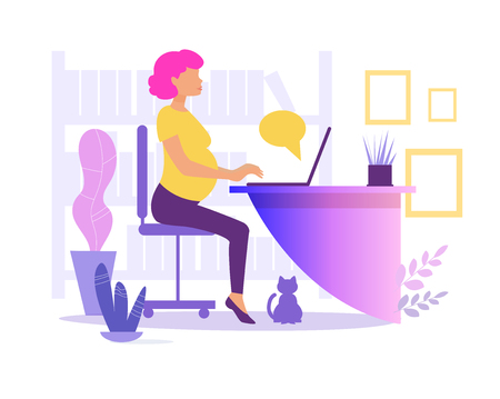 Pregnant woman working in office Vector. Cartoon. Isolated art