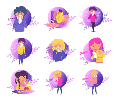Sneeze, flu, disease, infection, spread Vector Cartoon Isolated art on white
