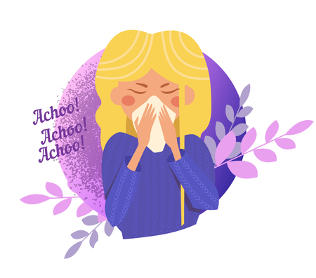 Sneeze, flu, disease, infection spread Vector Cartoon Isolated art Ilustracja