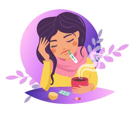Sneeze, flu, disease, infection, spread Vector. Cartoon Isolated art on white background Flat Zdjęcie Seryjne - 127064008