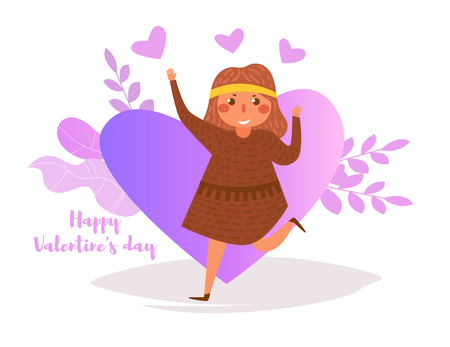 Happy Valentines day Vector. Cartoon. Isolated art on white background. Flat - Vector illustration