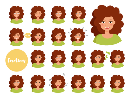 Woman with different emotions. Joy, sadness, anger, talking, funny, fear, smile Set Isolated illustration on white background Vector Cartoon Flat 일러스트