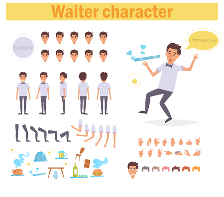 Waiter for animation. Poses front, rear, side, three quarter. Creation set. Collection of emotions. Vector. Cartoon. Isolated art on white background Flat