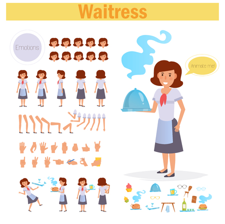 Waitress for animation. Poses front, rear, side, three quarter. Creation set. Collection of emotions. Vector. Cartoon. Isolated art on white background Flat