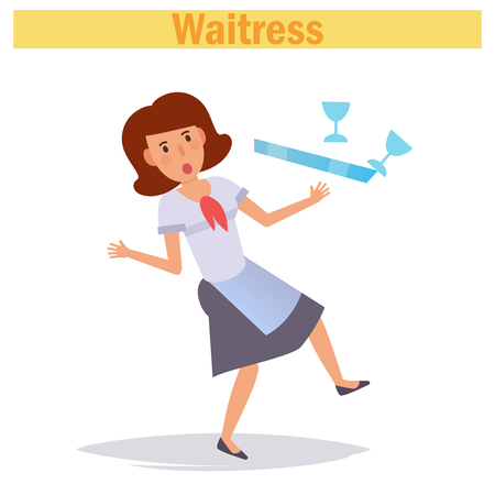 Waitress. Vector. Cartoon Isolated art on white background 일러스트