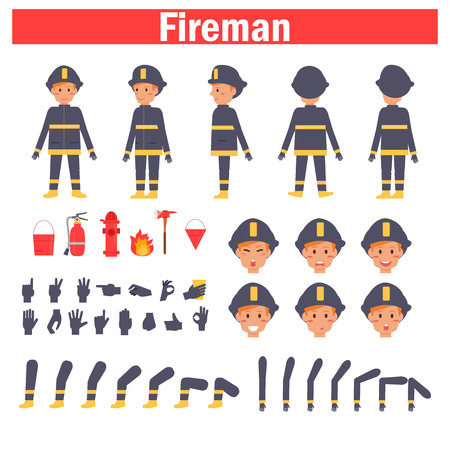 Fireman for animation. Poses front, rear, side, three quarter. Creation set. Collection of emotions. Vector. Cartoon. Isolated art on white background Flat