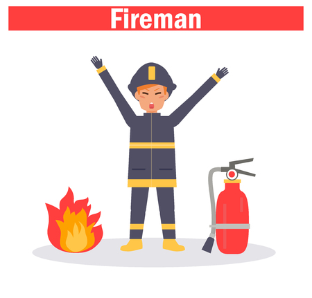 Fireman Vector. Cartoon. Isolated art on white background 일러스트