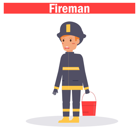 Fireman Vector. Cartoon. Isolated art on white background Ilustracja
