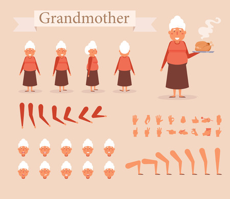 Grandmother for animation. Poses front, rear, side. Creation set. Collection of emotions. Vector. Cartoon. Isolated art on white background Flat