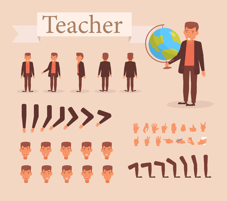 Teacher for animation. Poses front, rear, side, three quarter. Creation set. Collection of emotions. Vector. Cartoon. Isolated art on white background Ilustracja