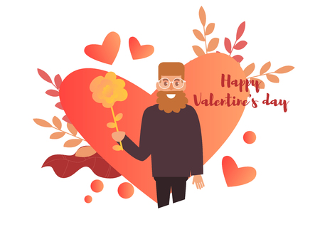 Valentines day card Vector. Cartoon. Isolated art on white background. Illustration