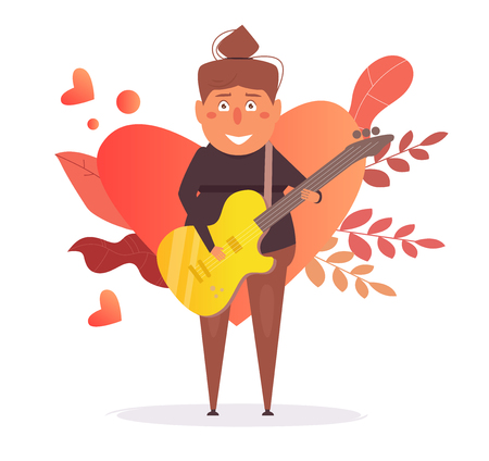Woman playing guitar Vector. Cartoon. Isolated art on white background. 일러스트