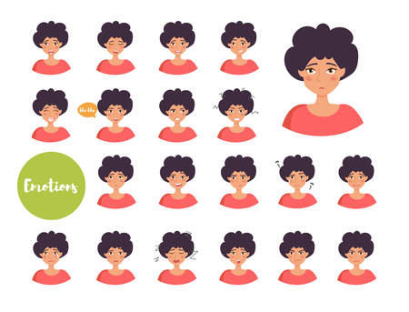 Woman with different emotions. Joy, sadness, anger, talking, funny, fear, smile Set Isolated illustration on white background Vector Cartoon Flat Illustration