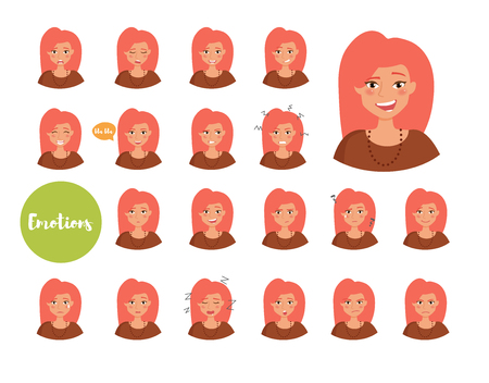 Woman with different emotions. Joy, sadness, anger, talking, funny, fear, smile Set Isolated illustration on white background Vector Cartoon Flat Ilustracja