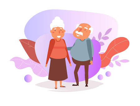 Grandparents Vector. Cartoon. Isolated art on white background. Flat
