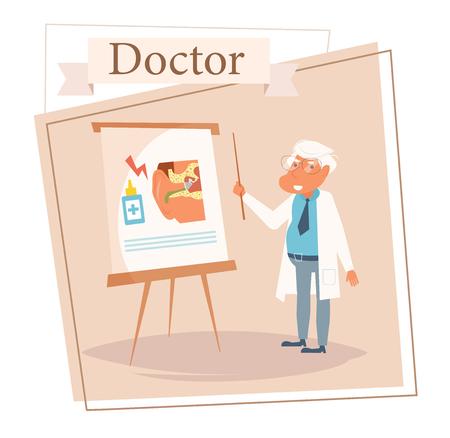 Doctor Vector. Cartoon. Isolated art on white background. Flat otolaryngologist