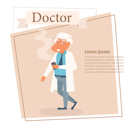 Doctor Vector. Cartoon. Isolated art on white background Illustration