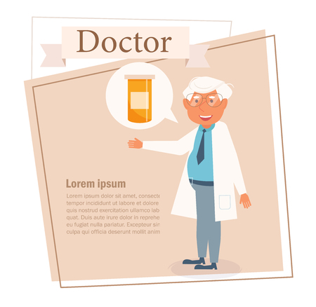 Doctor Vector. Cartoon. Isolated art on white background. Flat