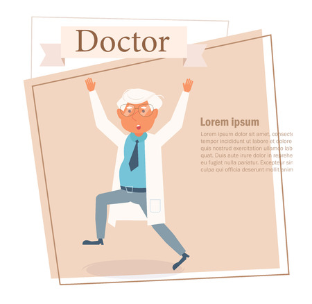 Doctor Vector. Cartoon. Isolated art on white background Ilustracja