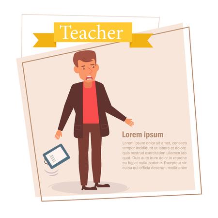 Teacher or businessman Vector. Cartoon. Isolated art on white background. 스톡 콘텐츠 - 125159123