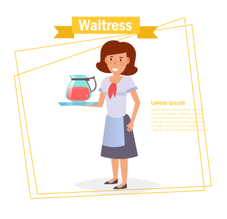 Waitress Vector. Cartoon. Isolated art on white background