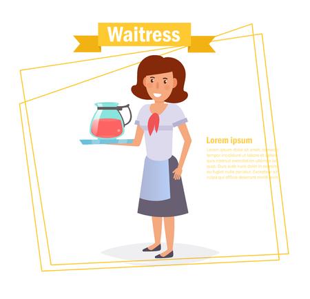 Waitress Vector. Cartoon. Isolated art on white background 스톡 콘텐츠 - 125159126