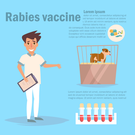 Rabies vaccine Vector. Cartoon. Isolated art on white background. Flat Ilustracja