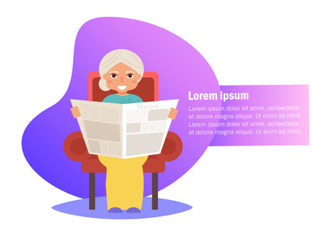 Grandmother is reading newspaper in his chair Vector. Cartoon. Isolated art on white background. Flat Ilustracja