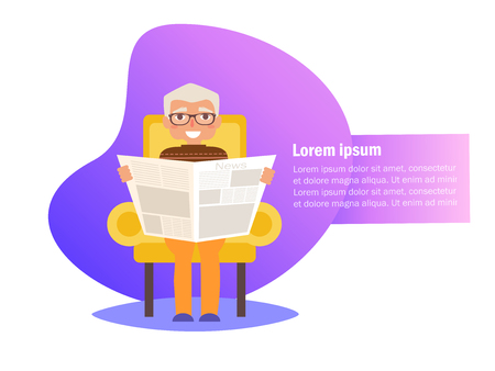 Grandpa is reading newspaper in his chair Vector. Cartoon. Isolated art on white background. Flat
