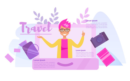 Travel concept Vector. Cartoon. Isolated art on white background. Flat Ilustracja
