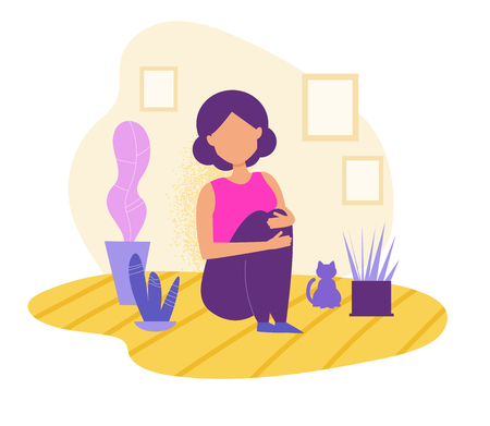 Depression, apathy, concept. Girl sitting alone with cat Vector. Cartoon. Isolated art on white background. Illustration