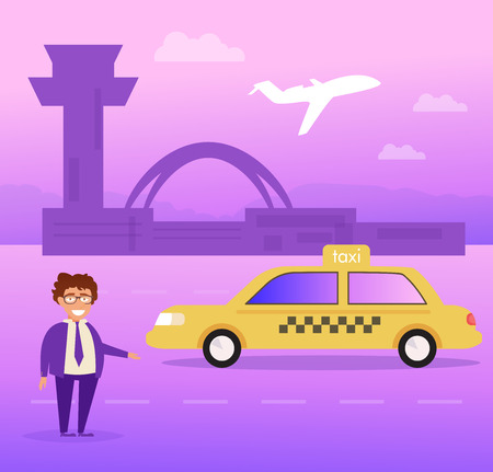 Taxi driver at the airport Vector. Cartoon. Isolated art on white background. Flat Ilustracja