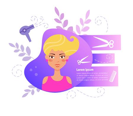 Hair salon Vector. Cartoon. Isolated art on white background. Flat 일러스트