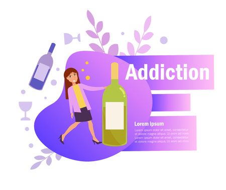 Alcohol dependence Vector. Cartoon. Isolated art on white background.