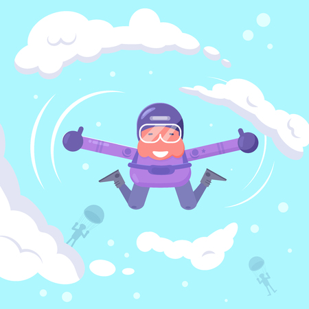 Parachutist flying in the sky Vector. Cartoon. Isolated