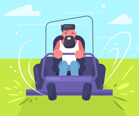 Man rides a lawn mower Vector. Cartoon. Isolated art