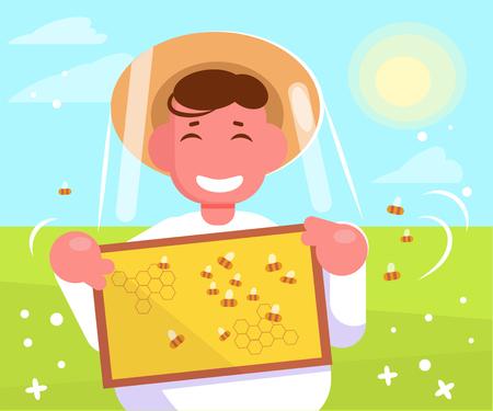 Beekeeper Vector. Cartoon. Isolated art Summer Honey gathering Illustration
