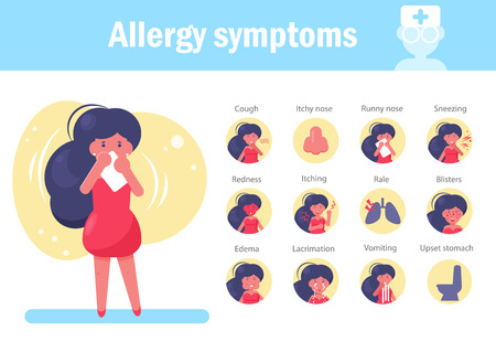 Allergy symptoms Vector. Cartoon. Isolated art on white background. Flat