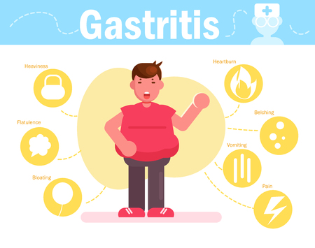Overweight man with gastritis Symptoms of the disease Vector. Cartoon. Isolated art