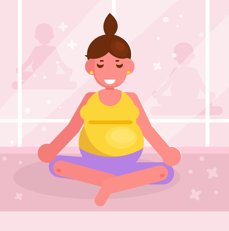 Pregnant woman doing yoga in the gym Vector. Cartoon. Isolated art Banque d'images - 124921773