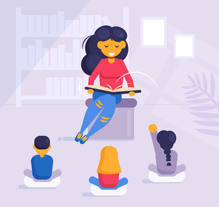 Woman reading a book to children in kindergarten or in the library Vector. Cartoon. Isolated art