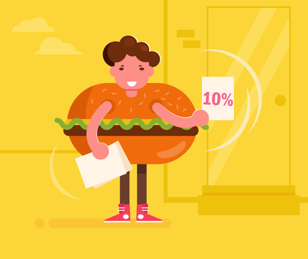 Promoter in a hamburger costume handing out leaflets. Vector. Cartoon. Isolated art on white background. Stock Illustratie