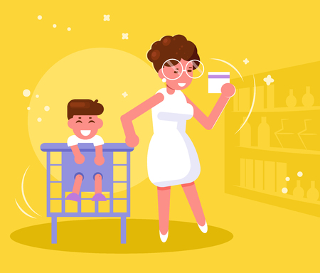 Mother with child in supermarket Vector. Cartoon. Isolated art Illustration