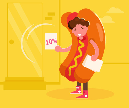 Promoter in a hot dog costume handing out leaflets. Vector. Cartoon. Isolated