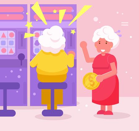 Grandmothers play casino slot machines Vector. Cartoon. Isolated