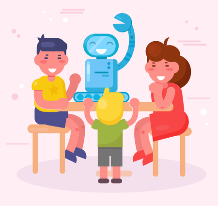 Kids assemble the robot Vector. Cartoon. Isolated