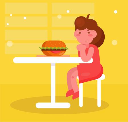Fille s'assoit et regarde le Burger Vector. Dessin animé. Art isolé Vecteurs